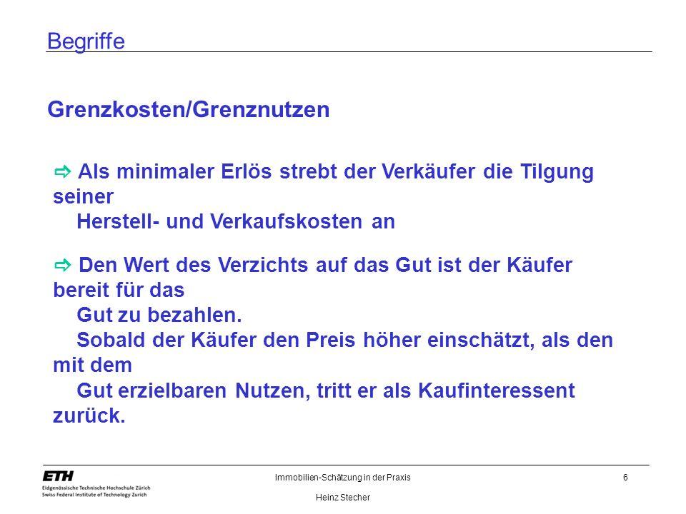 Immobilien-Schätzung in der Praxis Heinz Stecher 6 Begriffe Grenzkosten/Grenznutzen Als minimaler Erlös strebt der Verkäufer die Tilgung seiner Herste