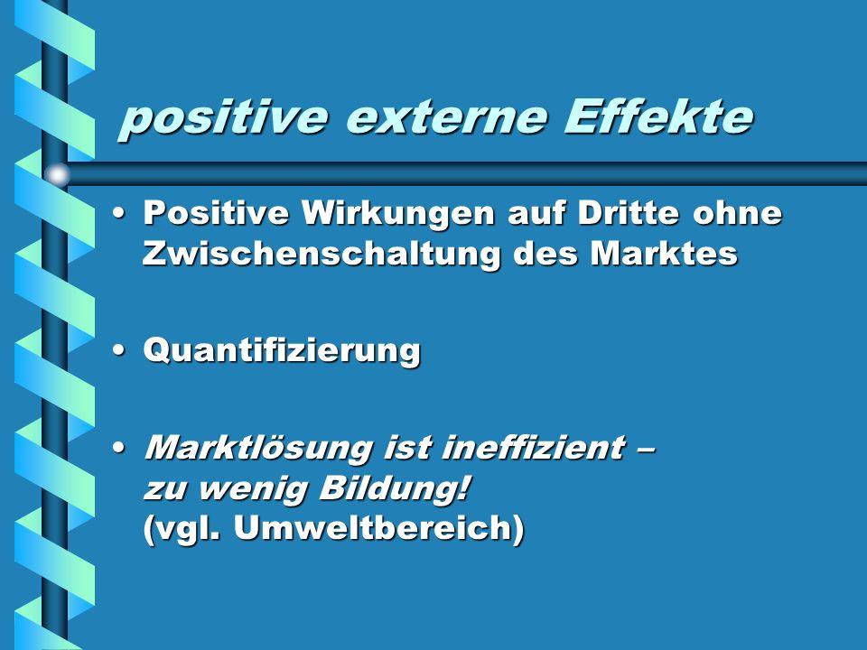 positive externe Effekte Positive Wirkungen auf Dritte ohne Zwischenschaltung des MarktesPositive Wirkungen auf Dritte ohne Zwischenschaltung des Mark
