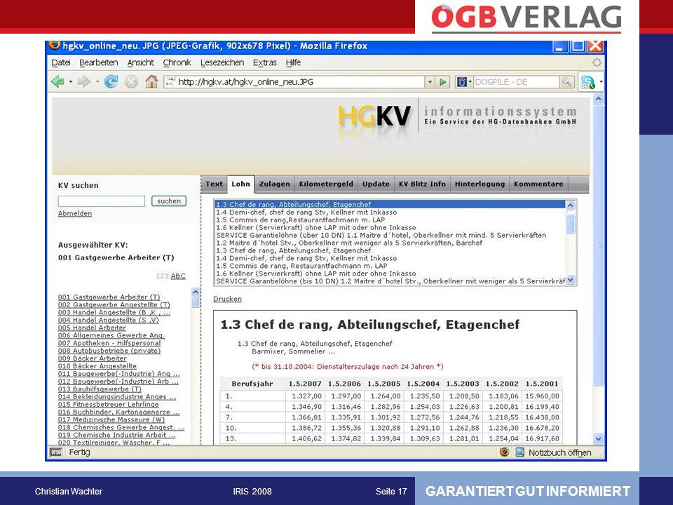 GARANTIERT GUT INFORMIERT Christian WachterIRIS 2008Seite 17