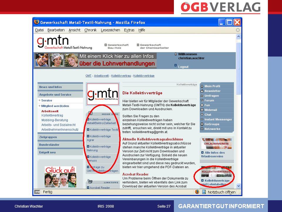 GARANTIERT GUT INFORMIERT Christian WachterIRIS 2008Seite 27