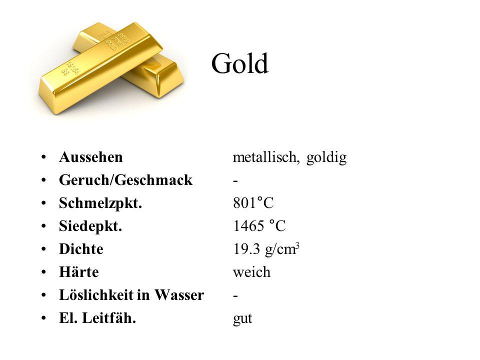 Gold Aussehen metallisch, goldig Geruch/Geschmack- Schmelzpkt. 801°C Siedepkt.1465 °C Dichte19.3 g/cm 3 Härteweich Löslichkeitin Wasser- El. Leitfäh.