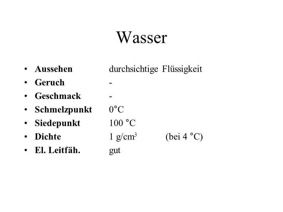 Wasser Aussehen durchsichtige Flüssigkeit Geruch- Geschmack- Schmelzpunkt 0°C Siedepunkt100 °C Dichte1 g/cm 3 (bei 4 °C) El. Leitfäh. gut
