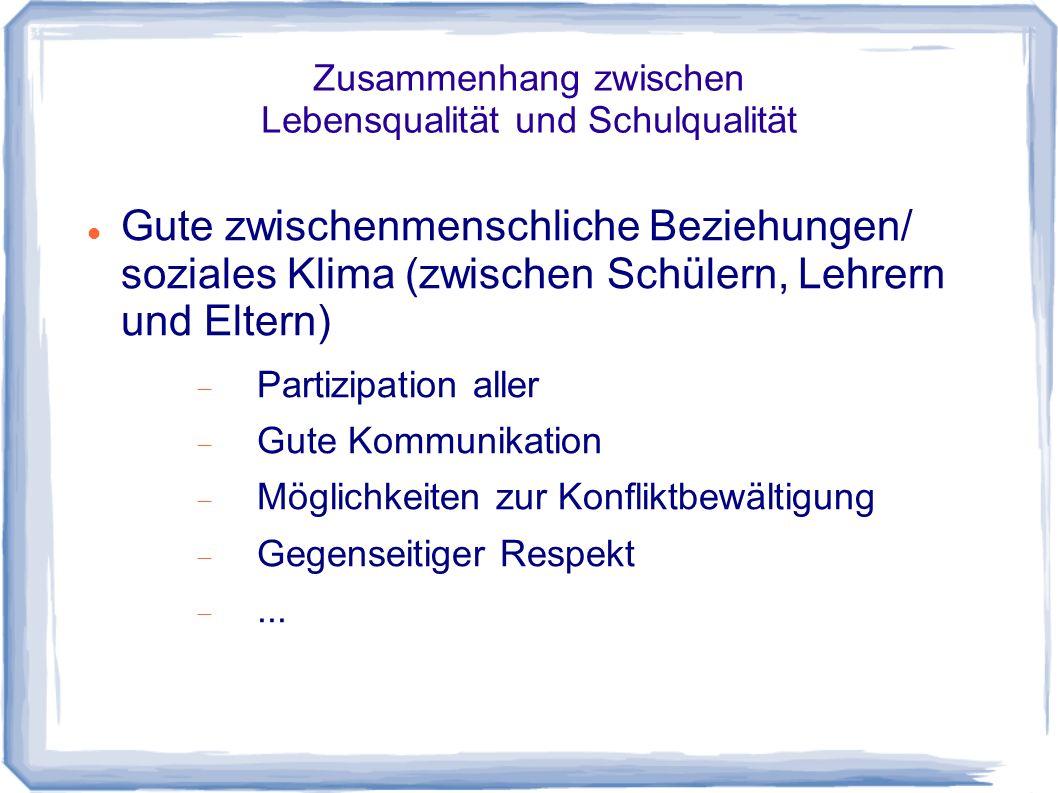 Zusammenhang zwischen Lebensqualität und Schulqualität Gute zwischenmenschliche Beziehungen/ soziales Klima (zwischen Schülern, Lehrern und Eltern) Pa