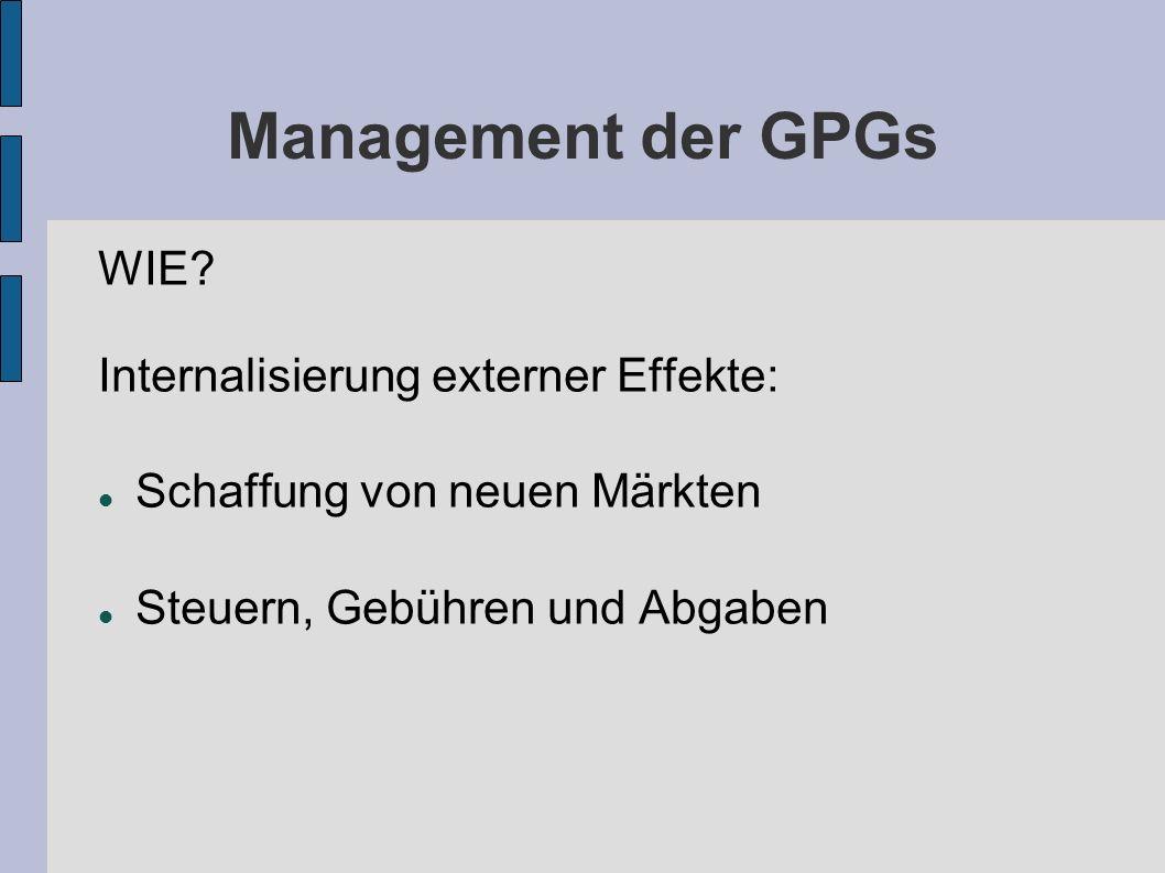 Management der GPGs WIE? Internalisierung externer Effekte: Schaffung von neuen Märkten Steuern, Gebühren und Abgaben
