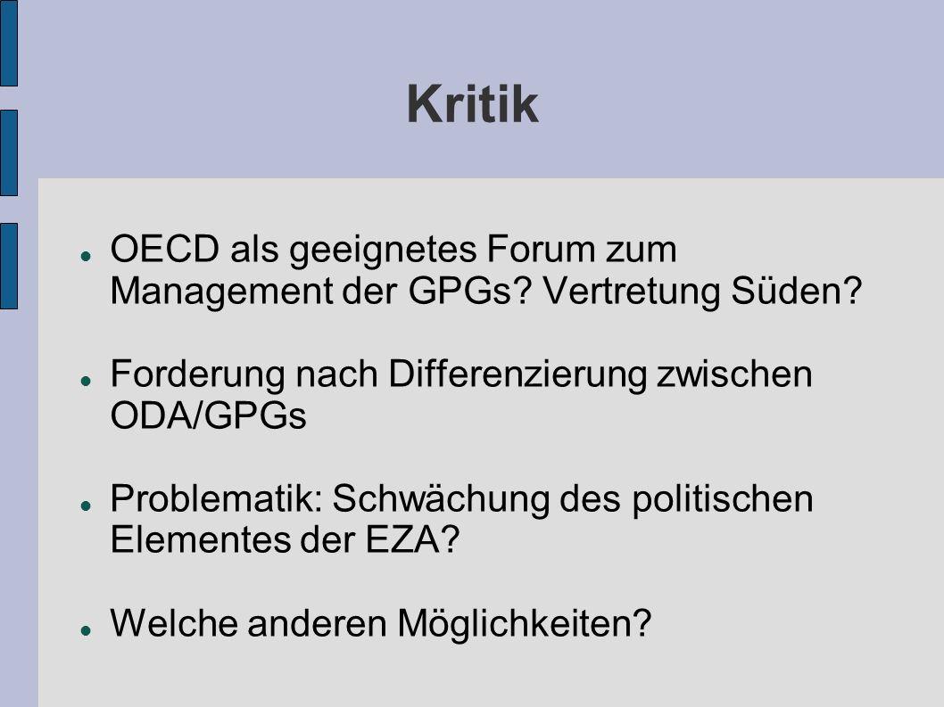 Kritik OECD als geeignetes Forum zum Management der GPGs? Vertretung Süden? Forderung nach Differenzierung zwischen ODA/GPGs Problematik: Schwächung d