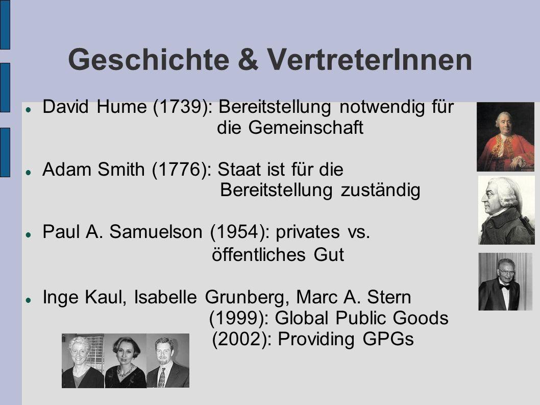Geschichte & VertreterInnen David Hume (1739): Bereitstellung notwendig für die Gemeinschaft Adam Smith (1776): Staat ist für die Bereitstellung zustä