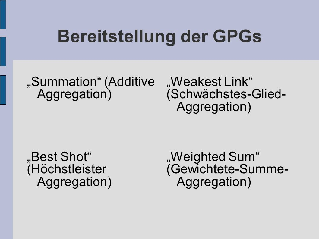 Bereitstellung der GPGs Summation (Additive Aggregation) Best Shot (Höchstleister Aggregation) Weakest Link (Schwächstes-Glied- Aggregation) Weighted