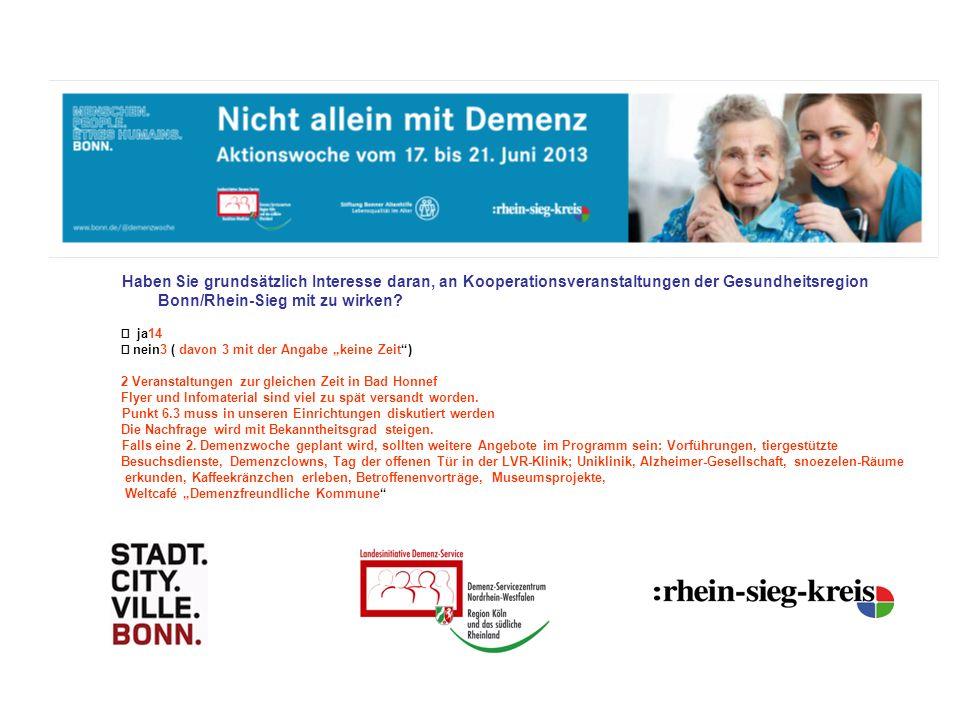 Haben Sie grundsätzlich Interesse daran, an Kooperationsveranstaltungen der Gesundheitsregion Bonn/Rhein-Sieg mit zu wirken.
