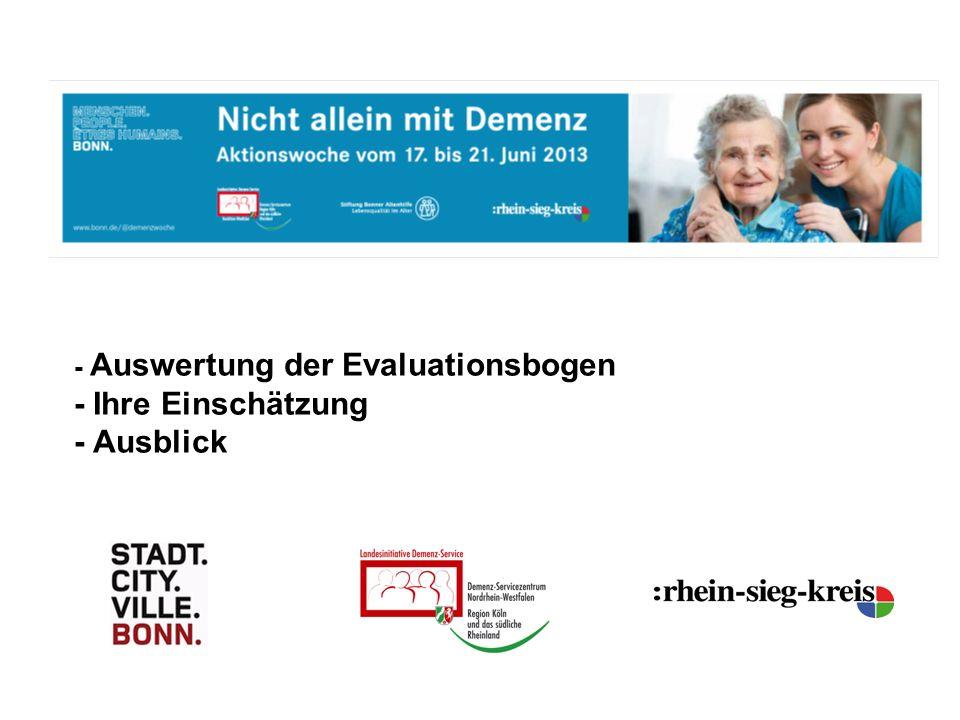 - Auswertung der Evaluationsbogen - Ihre Einschätzung - Ausblick