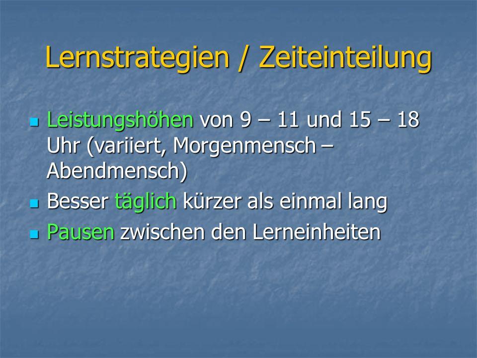 Lernstrategien / Zeiteinteilung Leistungshöhen von 9 – 11 und 15 – 18 Uhr (variiert, Morgenmensch – Abendmensch) Leistungshöhen von 9 – 11 und 15 – 18