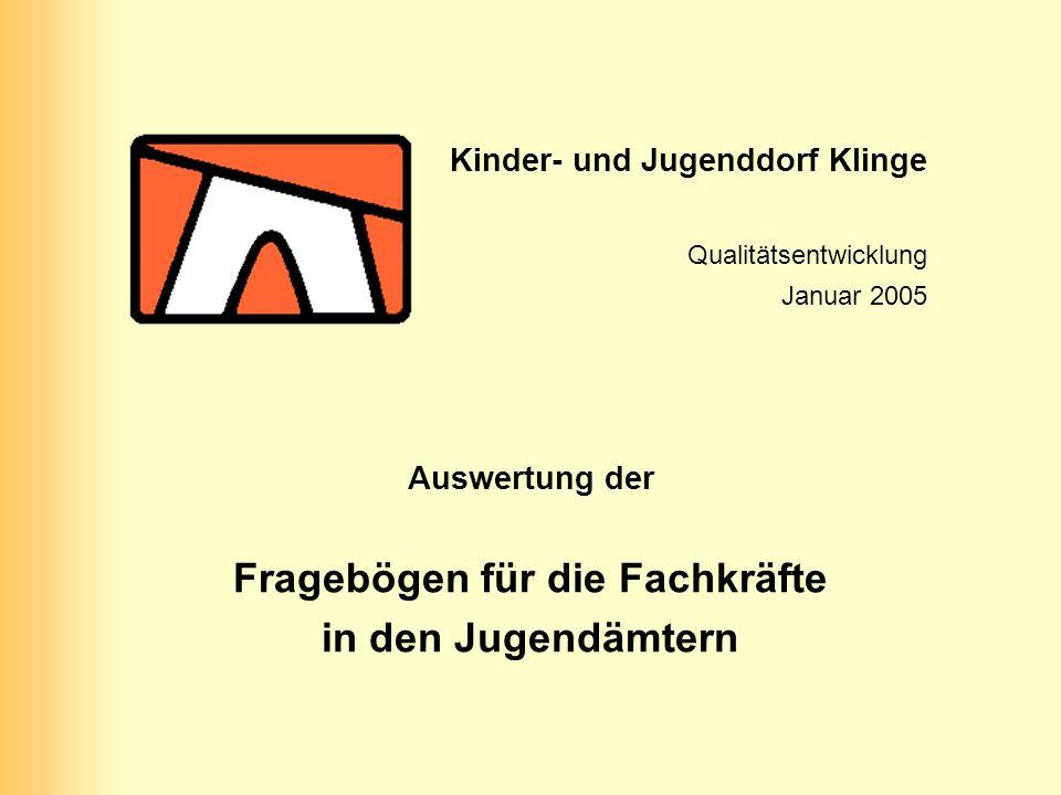 Kinder- und Jugenddorf Klinge Qualitätsentwicklung Januar 2005 Auswertung der Fragebögen für die Fachkräfte in den Jugendämtern