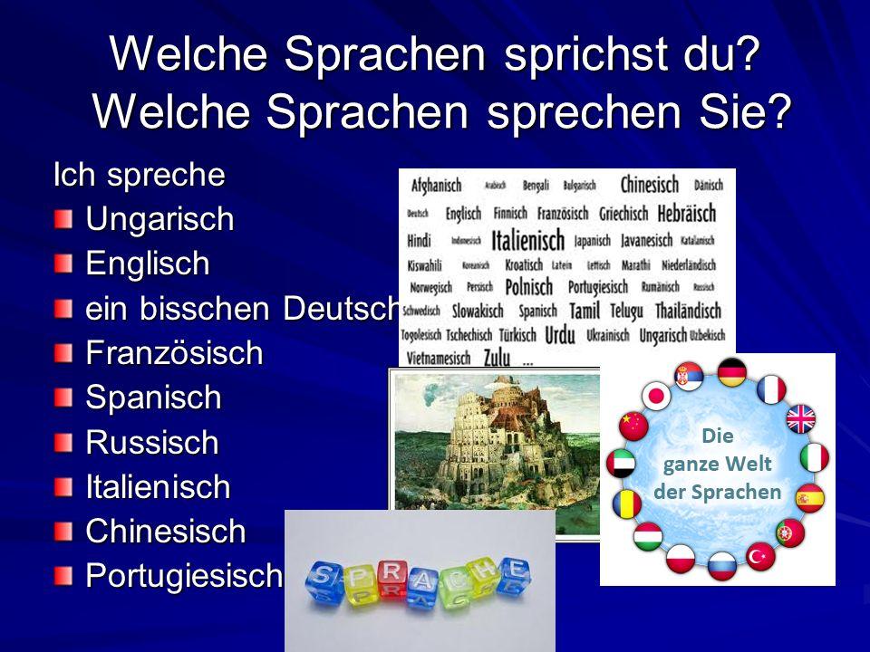 Welche Sprachen sprichst du? Welche Sprachen sprechen Sie? Ich spreche UngarischEnglisch ein bisschen Deutsch FranzösischSpanischRussischItalienischCh