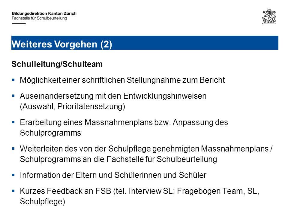 Schulleitung/Schulteam Möglichkeit einer schriftlichen Stellungnahme zum Bericht Auseinandersetzung mit den Entwicklungshinweisen (Auswahl, Prioritäte