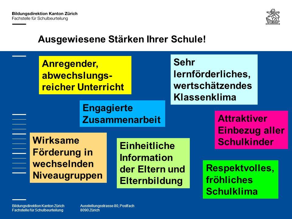 Bildungsdirektion Kanton Zürich Fachstelle für Schulbeurteilung Ausstellungsstrasse 80, Postfach 8090 Zürich Ausgewiesene Stärken Ihrer Schule! Anrege