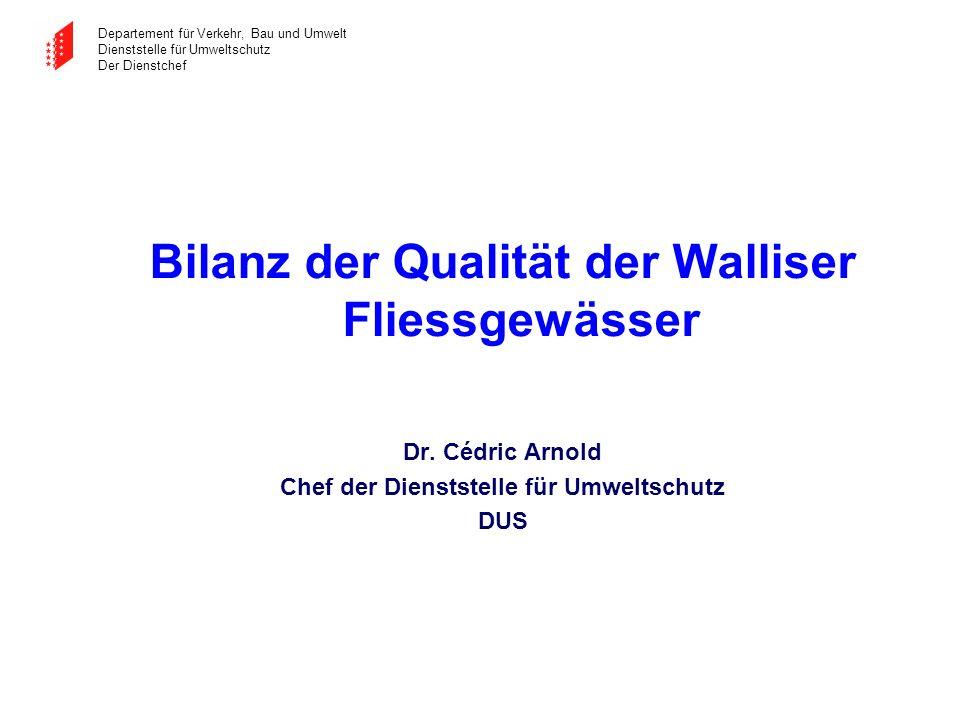 Departement für Verkehr, Bau und Umwelt Dienststelle für Umweltschutz Der Dienstchef Bilanz der Qualität der Walliser Fliessgewässer Dr. Cédric Arnold