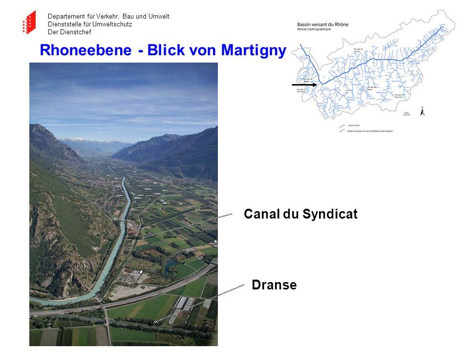 Departement für Verkehr, Bau und Umwelt Dienststelle für Umweltschutz Der Dienstchef Canal du Syndicat Rhoneebene - Blick von Martigny Dranse