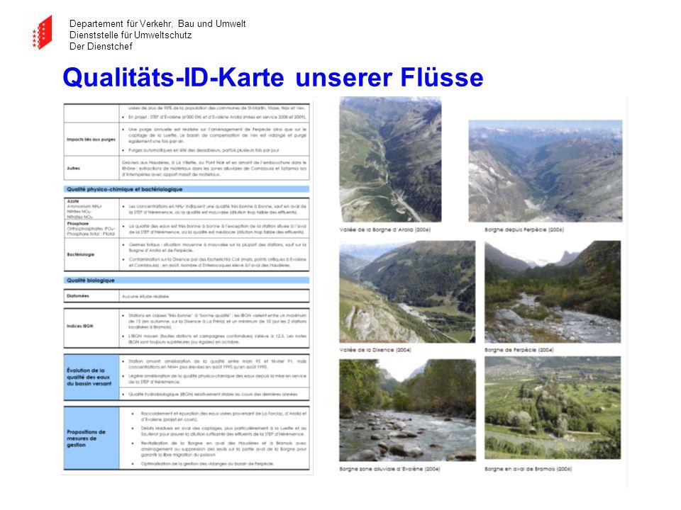 Departement für Verkehr, Bau und Umwelt Dienststelle für Umweltschutz Der Dienstchef Qualitäts-ID-Karte unserer Flüsse