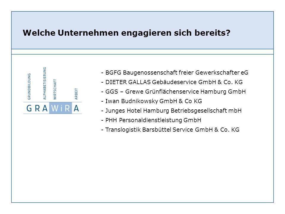 - BGFG Baugenossenschaft freier Gewerkschafter eG - DIETER GALLAS Gebäudeservice GmbH & Co. KG - GGS – Grewe Grünflächenservice Hamburg GmbH - Iwan Bu