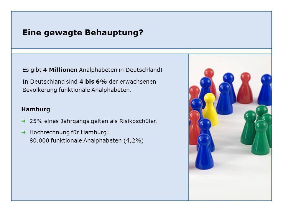 Eine gewagte Behauptung? Es gibt 4 Millionen Analphabeten in Deutschland! In Deutschland sind 4 bis 6% der erwachsenen Bevölkerung funktionale Analpha