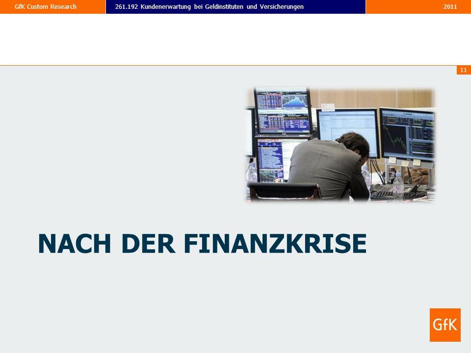 2011261.192 Kundenerwartung bei Geldinstituten und VersicherungenGfK Custom Research 11 NACH DER FINANZKRISE