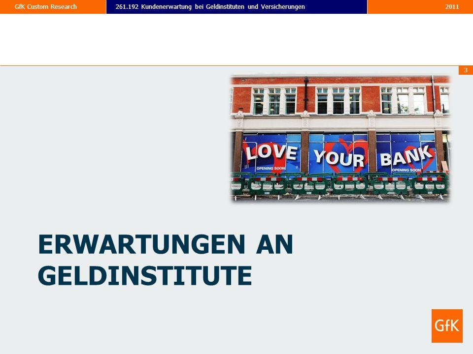 2011261.192 Kundenerwartung bei Geldinstituten und VersicherungenGfK Custom Research 3 ERWARTUNGEN AN GELDINSTITUTE