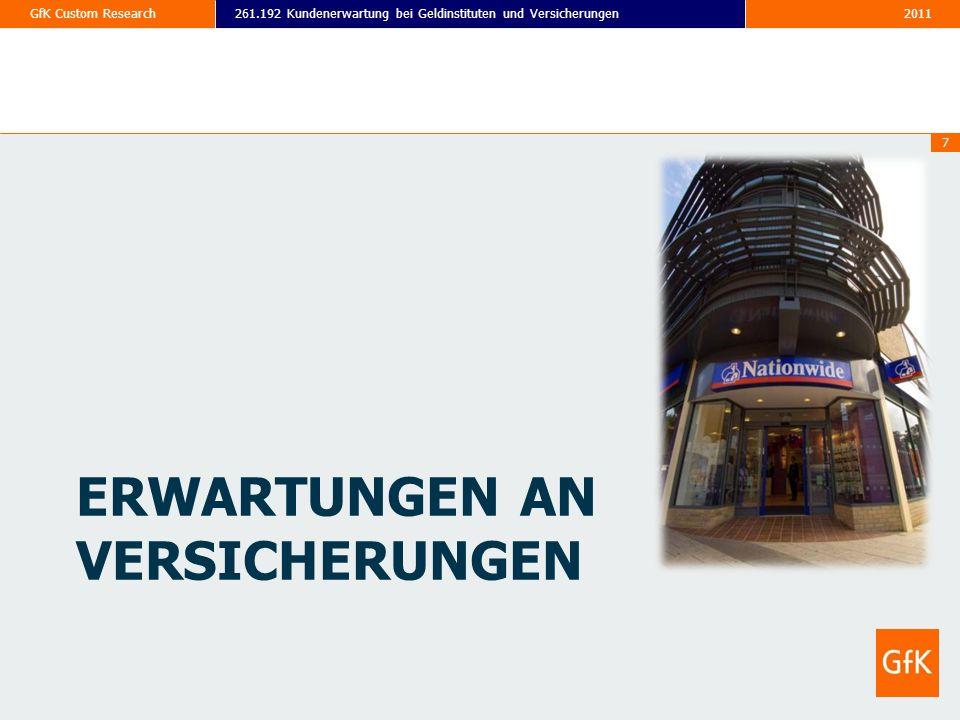2011261.192 Kundenerwartung bei Geldinstituten und VersicherungenGfK Custom Research 7 ERWARTUNGEN AN VERSICHERUNGEN