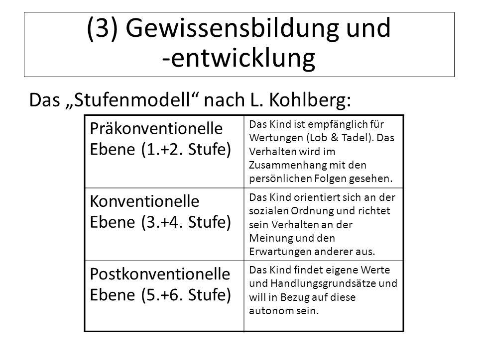 12.07.11 (3) Gewissensbildung und -entwicklung Das Stufenmodell nach L. Kohlberg: Präkonventionelle Ebene (1.+2. Stufe) Das Kind ist empfänglich für W