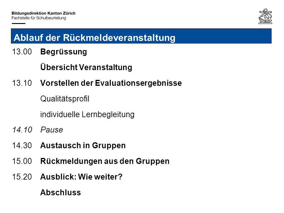 Bildungsdirektion Kanton Zürich Fachstelle für Schulbeurteilung Josefstrasse 59, Postfach 8090 Zürich Individuelle Lernbegleitung