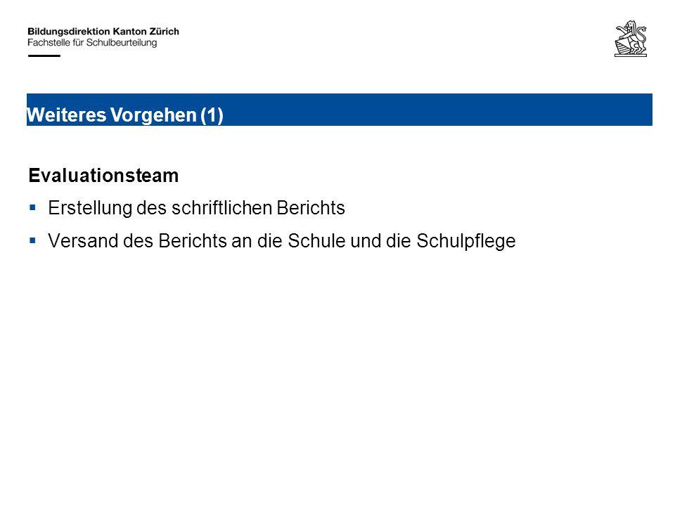 Evaluationsteam Erstellung des schriftlichen Berichts Versand des Berichts an die Schule und die Schulpflege Weiteres Vorgehen (1)