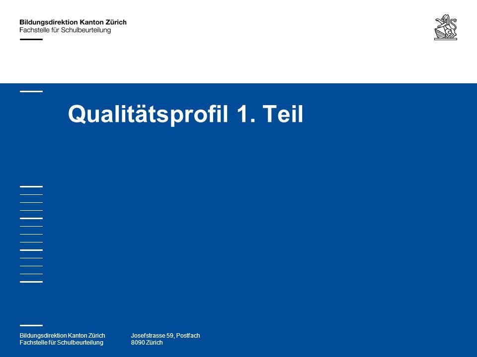 Bildungsdirektion Kanton Zürich Fachstelle für Schulbeurteilung Josefstrasse 59, Postfach 8090 Zürich Qualitätsprofil 1. Teil