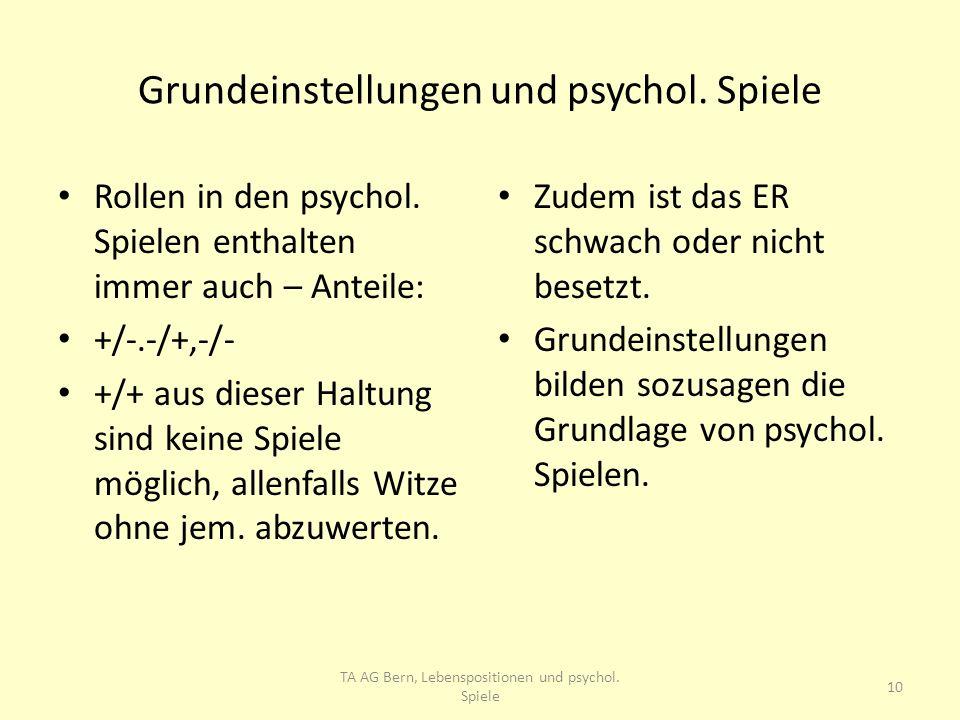 Grundeinstellungen und psychol. Spiele Rollen in den psychol. Spielen enthalten immer auch – Anteile: +/-.-/+,-/- +/+ aus dieser Haltung sind keine Sp