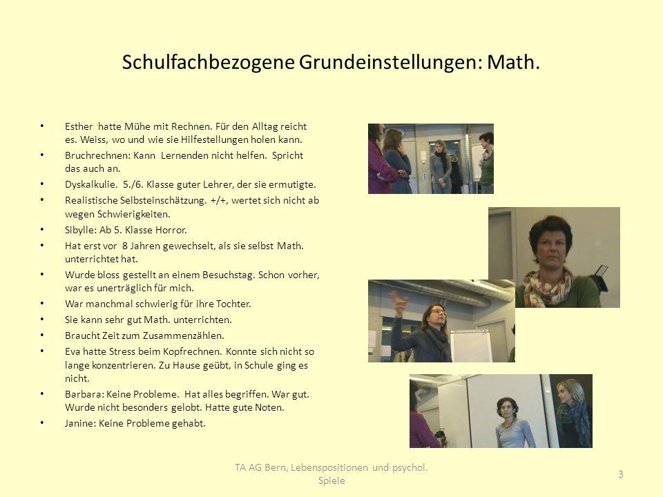 Schulfachbezogene Grundeinstellungen: Math. Esther hatte Mühe mit Rechnen. Für den Alltag reicht es. Weiss, wo und wie sie Hilfestellungen holen kann.