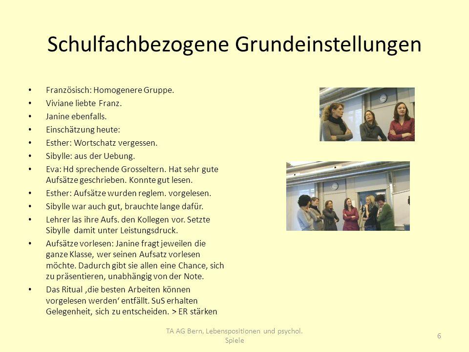 Schulfachbezogene Grundeinstellungen Französisch: Homogenere Gruppe. Viviane liebte Franz. Janine ebenfalls. Einschätzung heute: Esther: Wortschatz ve