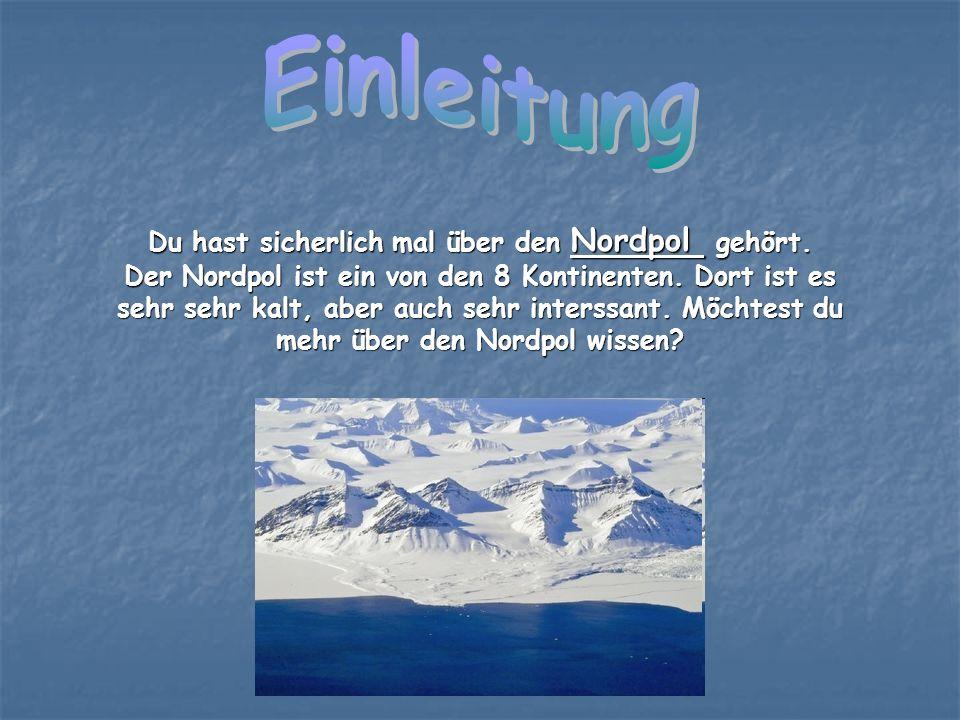 Du hast sicherlich mal über den Nordpol gehört. Der Nordpol ist ein von den 8 Kontinenten. Dort ist es sehr sehr kalt, aber auch sehr interssant. Möch