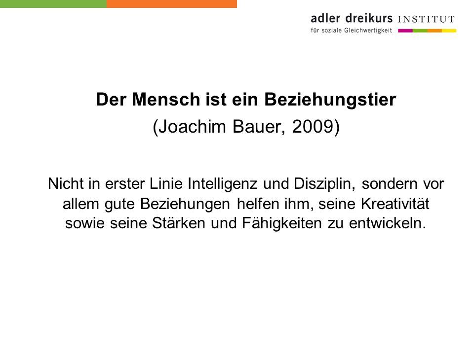 Der Mensch ist ein Beziehungstier (Joachim Bauer, 2009) Nicht in erster Linie Intelligenz und Disziplin, sondern vor allem gute Beziehungen helfen ihm