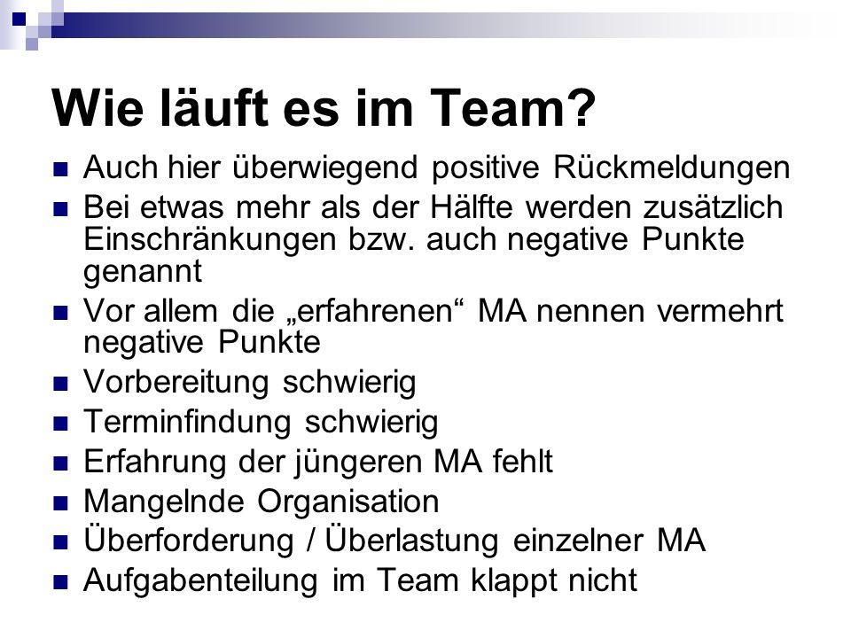 Wie läuft es im Team.
