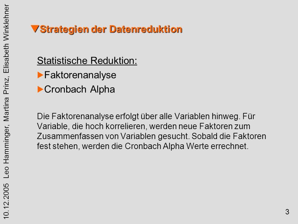 3 10.12.2005 Leo Hamminger, Martina Prinz, Elisabeth Winklehner Statistische Reduktion: Faktorenanalyse Cronbach Alpha Die Faktorenanalyse erfolgt über alle Variablen hinweg.