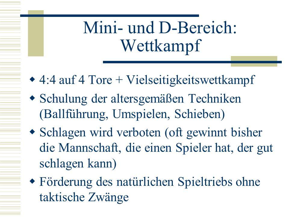 Mini- und D-Bereich: Wettkampf 4:4 auf 4 Tore + Vielseitigkeitswettkampf Schulung der altersgemäßen Techniken (Ballführung, Umspielen, Schieben) Schla