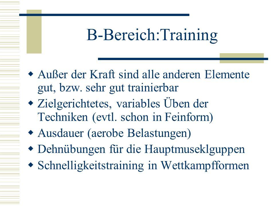 B-Bereich:Training Außer der Kraft sind alle anderen Elemente gut, bzw. sehr gut trainierbar Zielgerichtetes, variables Üben der Techniken (evtl. scho