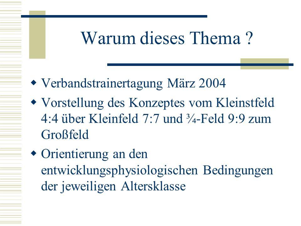 Warum dieses Thema ? Verbandstrainertagung März 2004 Vorstellung des Konzeptes vom Kleinstfeld 4:4 über Kleinfeld 7:7 und ¾-Feld 9:9 zum Großfeld Orie