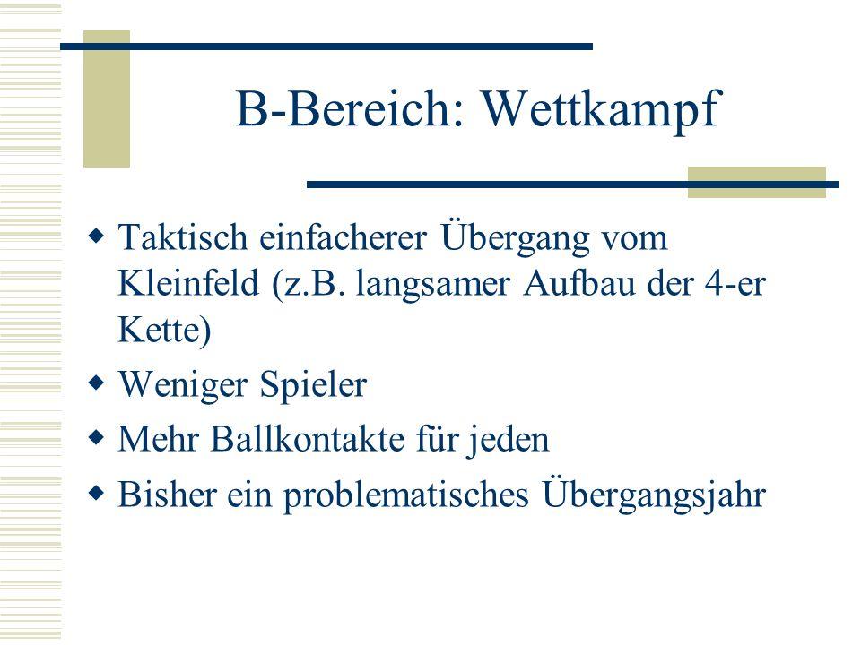 B-Bereich: Wettkampf Taktisch einfacherer Übergang vom Kleinfeld (z.B. langsamer Aufbau der 4-er Kette) Weniger Spieler Mehr Ballkontakte für jeden Bi
