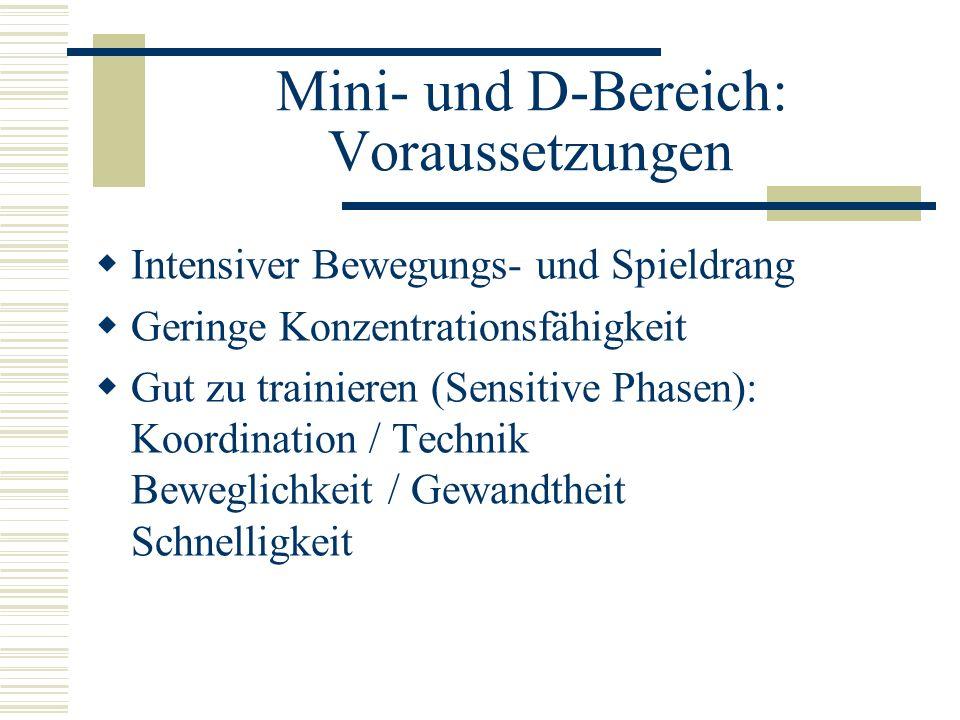 Mini- und D-Bereich: Voraussetzungen Intensiver Bewegungs- und Spieldrang Geringe Konzentrationsfähigkeit Gut zu trainieren (Sensitive Phasen): Koordi