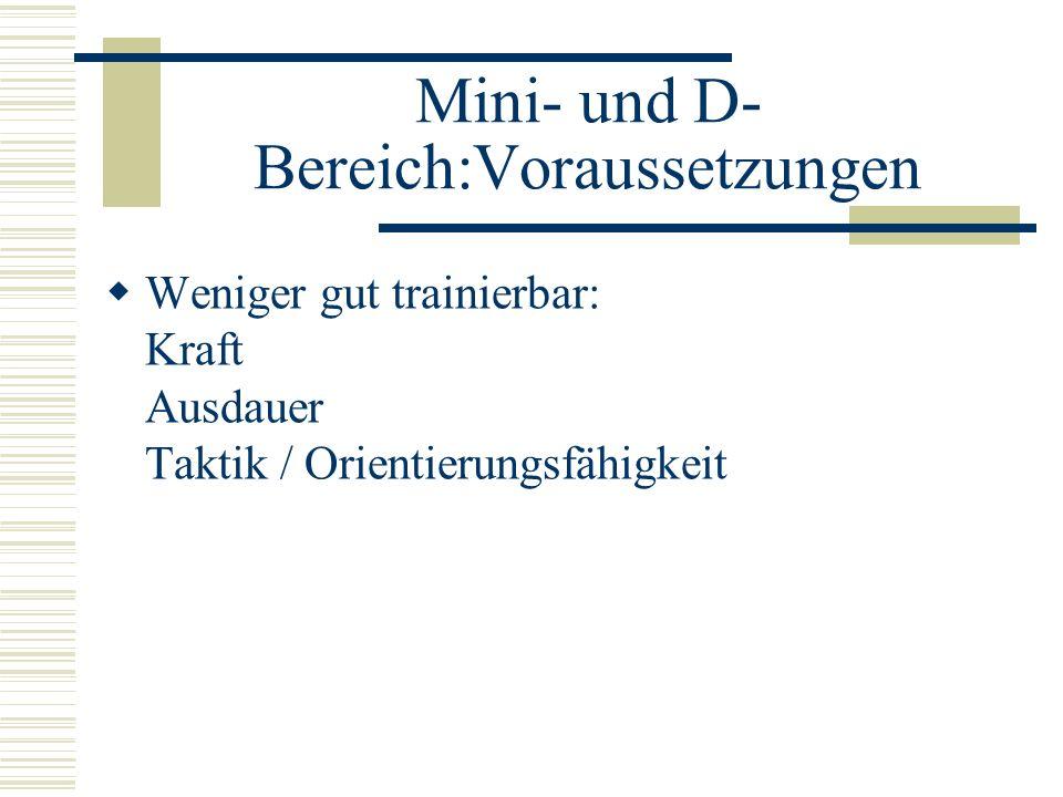 Mini- und D- Bereich:Voraussetzungen Weniger gut trainierbar: Kraft Ausdauer Taktik / Orientierungsfähigkeit
