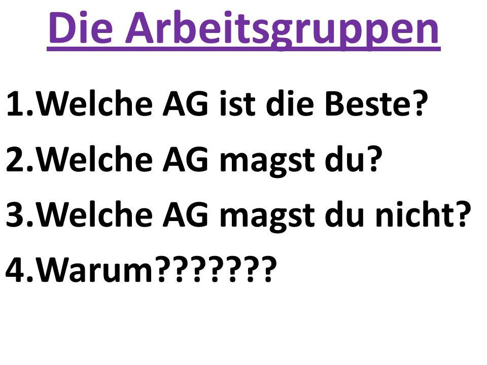 Die Arbeitsgruppen 1.Welche AG ist die Beste? 2.Welche AG magst du? 3.Welche AG magst du nicht? 4.Warum???????