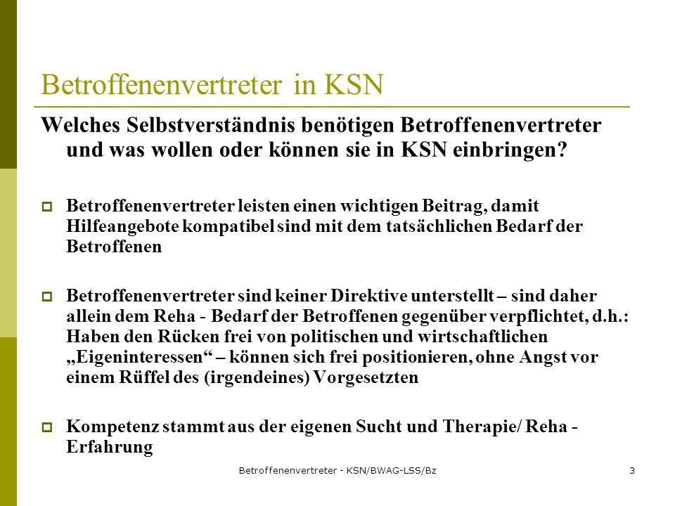 Betroffenenvertreter - KSN/BWAG-LSS/Bz4 Betroffenenvertreter in KSN Sie kennen daher Stärken und Schwächen im System der bisherigen Suchtkrankenhilfe Qualität erweitern und verbessern bedeutet: die Betroffenenperspektive ins KSN einbeziehen.