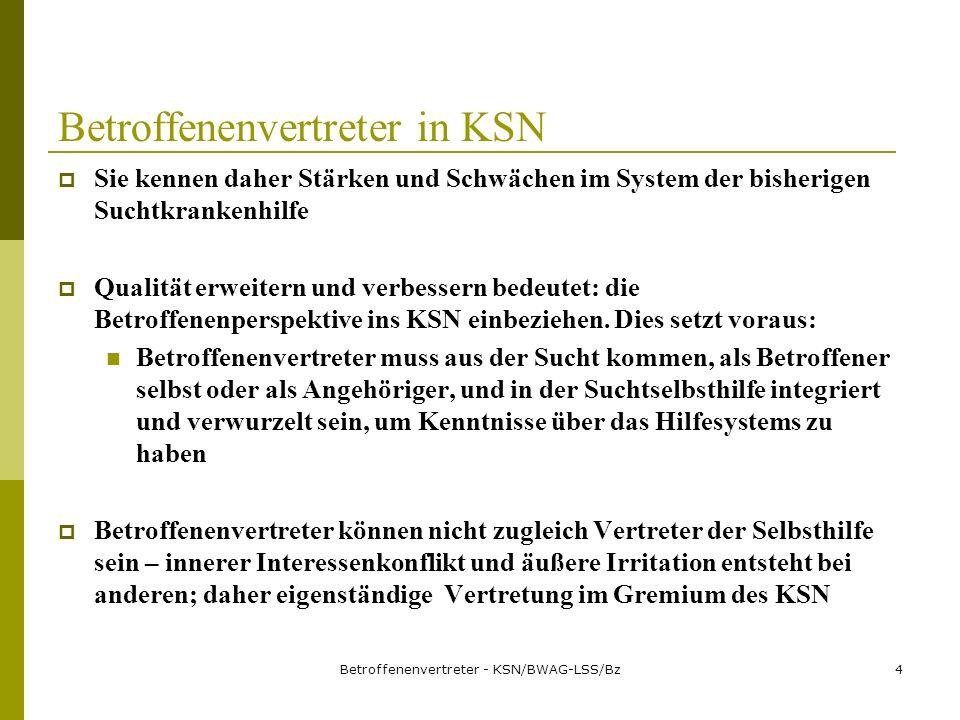 Betroffenenvertreter - KSN/BWAG-LSS/Bz5 Betroffenenvertreter in KSN Betroffenenvertreter sind weder Eindringlinge noch Nörgler und haben auch keine fertigen Konzepte.