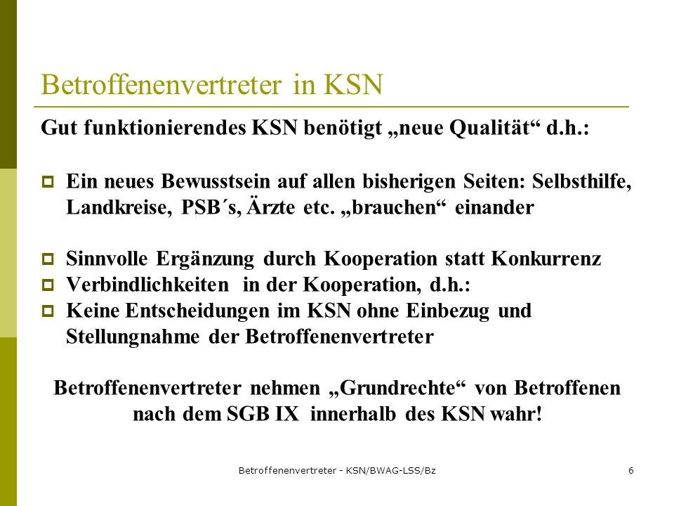Betroffenenvertreter - KSN/BWAG-LSS/Bz6 Betroffenenvertreter in KSN Gut funktionierendes KSN benötigt neue Qualität d.h.: Ein neues Bewusstsein auf allen bisherigen Seiten: Selbsthilfe, Landkreise, PSB´s, Ärzte etc.