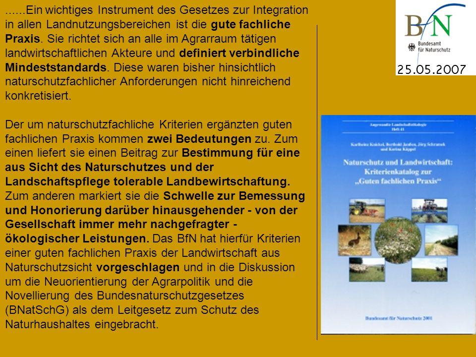 25.05.2007......Ein wichtiges Instrument des Gesetzes zur Integration in allen Landnutzungsbereichen ist die gute fachliche Praxis.