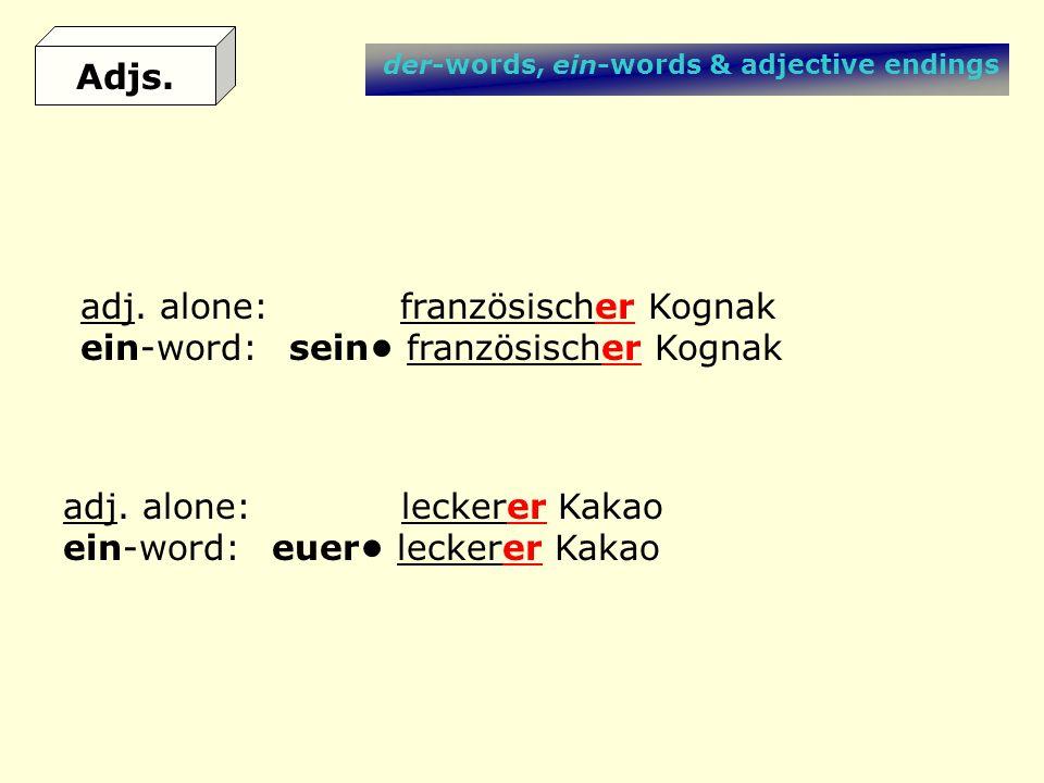 der-words, ein-words & adjective endings adj. alone: leckerer Kakao ein-word:euer leckerer Kakao adj. alone: französischer Kognak ein-word:sein franzö