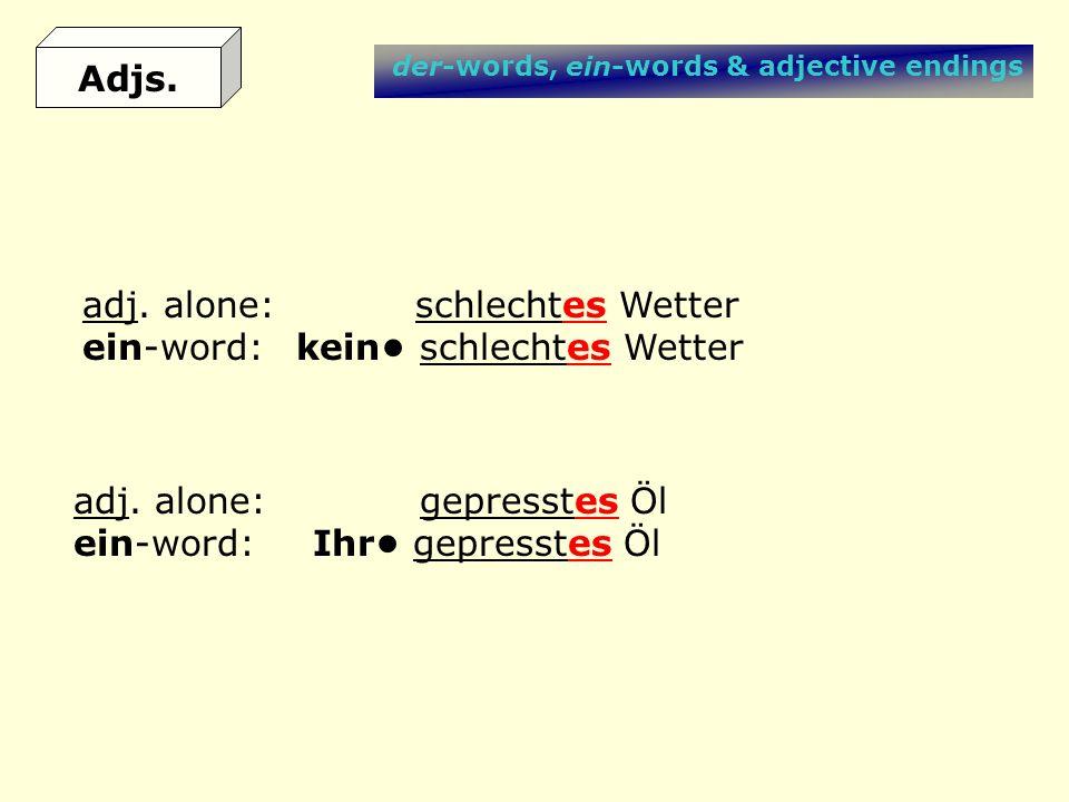 der-words, ein-words & adjective endings adj. alone: schlechtes Wetter ein-word:kein schlechtes Wetter adj. alone: gepresstes Öl ein-word: Ihr gepress